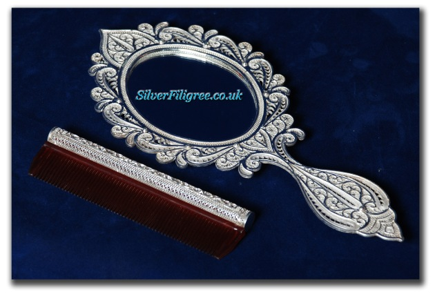 Silver Filigree Mirror