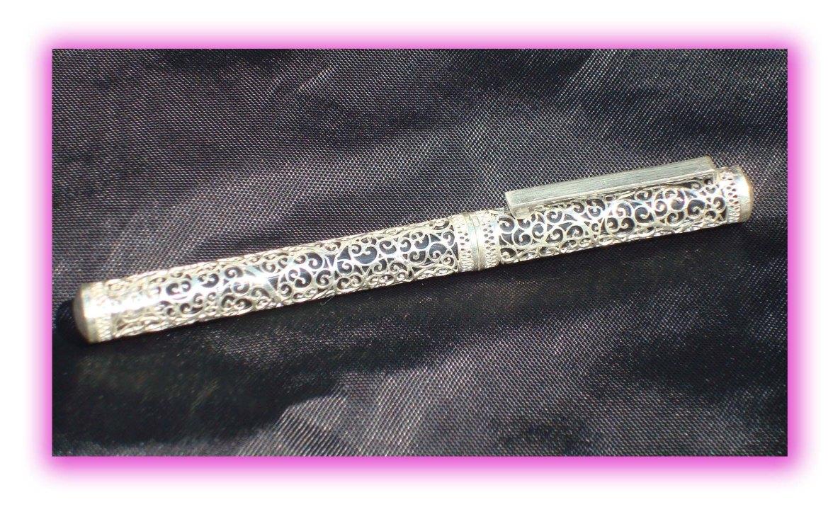 Silver Filigree Pen in Black